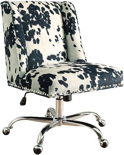 Linon Clayton Black Cow Print Office Chair