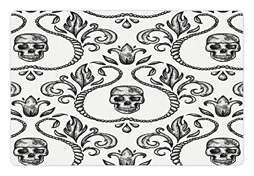 Gothic Pet Mats for Food and Water by Lunarable, Ornament with Skull Goth Skeleton Floral Design in Baroque Style Illustration, Rectangle Non-Slip Rubber Mat for Dogs and Cats, Black and - Baroque Floral