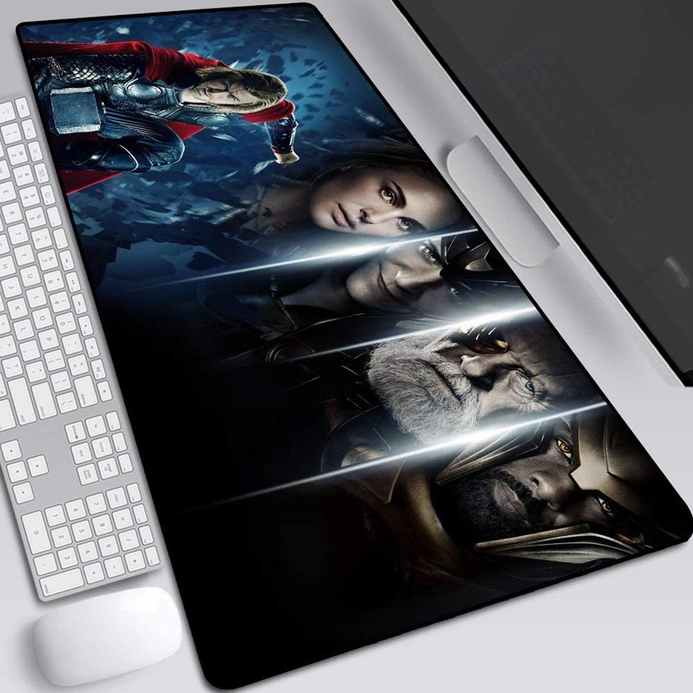 Non-Slip Rubber Base Mouse Pads Marvel Avengers Iron Man Quake Table Mat Stitched Edges Large Game Anime Keyboard Desk Mat Color : B, Size : 300X800X2mm