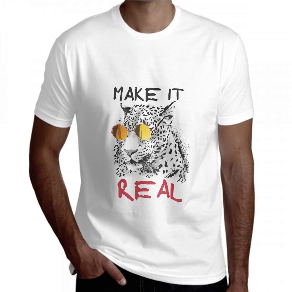 Men Shirt Short Sleeve Make Real Leopard Sunglasses Mens Tall Tee Shirts