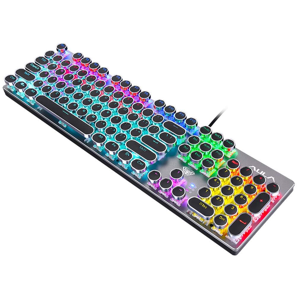 ZYM Gaming Backlit Mechanical Keyboard Blue/Black Switch Metal Panel Round Retro Keycap USB Computer Peripherals for Desktop Laptop by ZYM