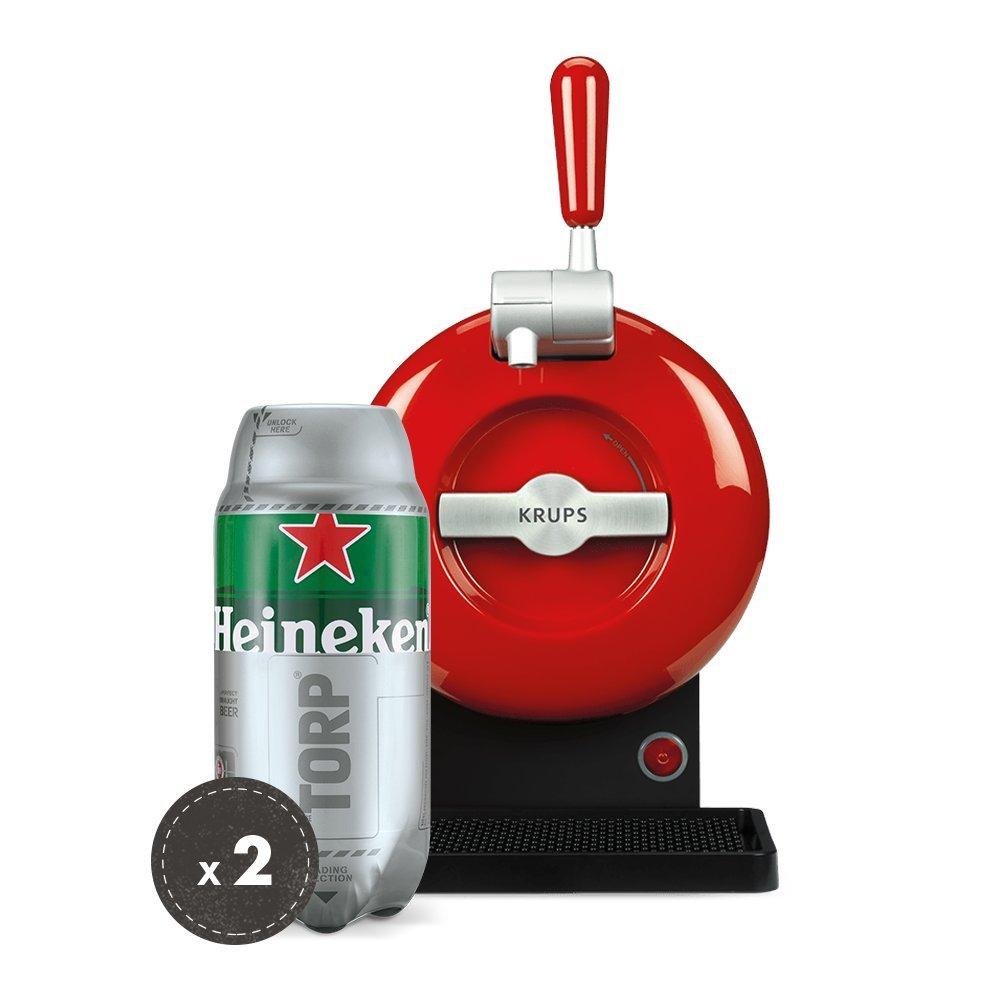 Heineken THE SUB Set Spillatura Domestica | THE SUB Spillatore Birra da Casa, Edizione Rouge | 2 x TORP Heineken Fustini di Birra da 2 Litri