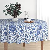 Roostery Round Tablecloth - Turkish Islamic Persian Victorian Damask Indian Indigo by Muhlenkott - Cotton Sateen Tablecloth 70in