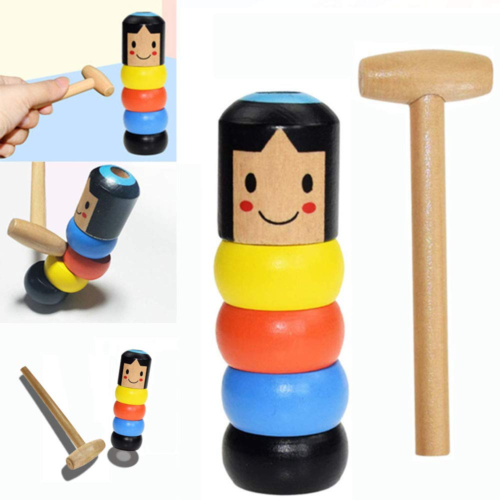 Unbreakable Wooden Man Magic Toy-Immortal Daruma Funny Toy Stage Magic Props by Starhig