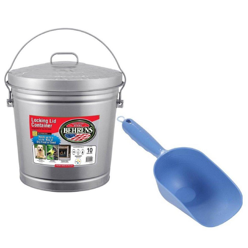 Locking Lid Can Silver Galvanized Steel Dry Behrens High Grade Steel 6110 10 Gal with plastic pet food scoop Van Ness
