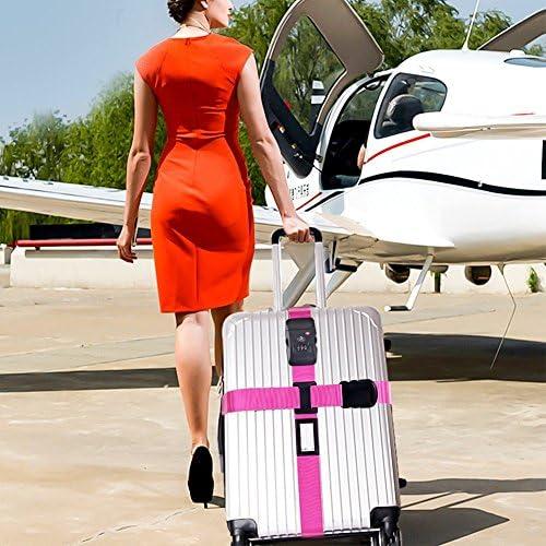 Correa para Viajes Seguros Nylon Resistente//Candado de Combinaci/ón//Color Llamativo Correa de Equipaje TSA