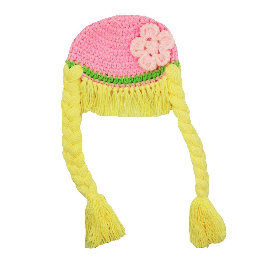 Little Girls Pink Yellow Pigtails Flower Crochet Hat 2-4 Years