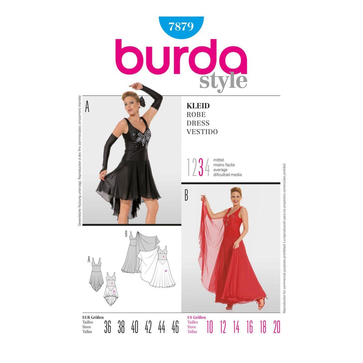 Amazon.com : Burda B7879 Pattern Womens/misses Ballroom Dress ...