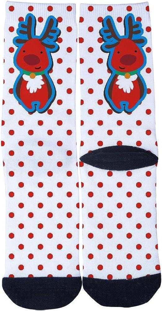 Lejoa Christmas deer White red wave point Custom Funny Crew Socks for Mens Womens