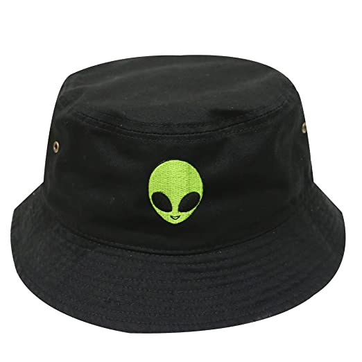 25f0c52b821 City Hunter Unisex Alien Cotton Summer Bucket Hat - Multi Colors (Black)