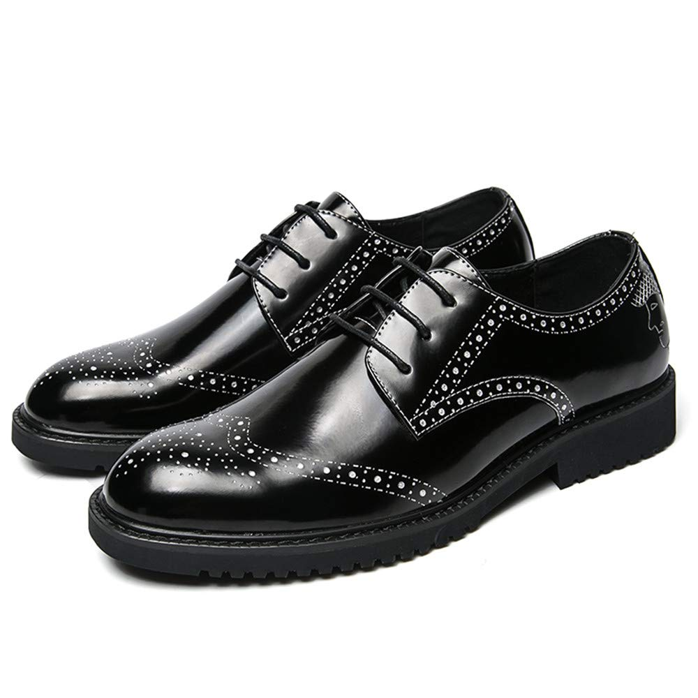 Herren Business Oxford Casual New Light Lackleder Schuhe Anti Rutsch Breathable Brogue Schuhe Lackleder Silver d85c53