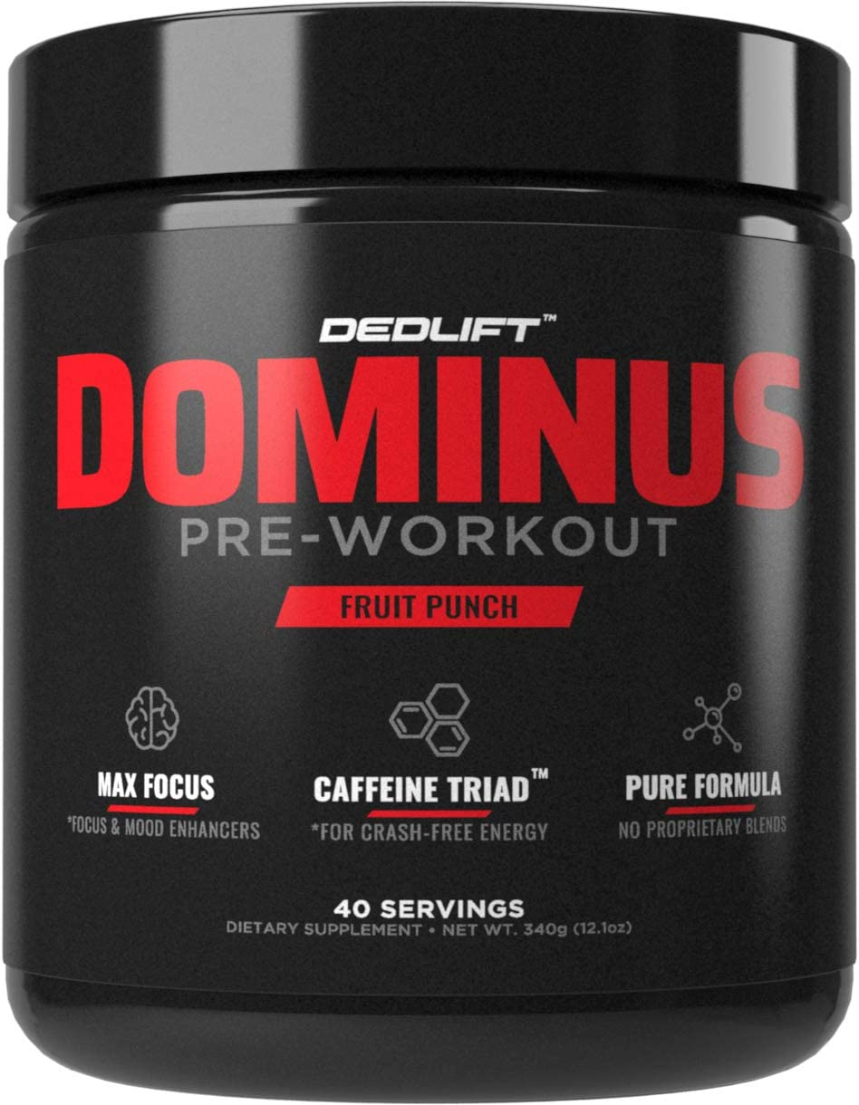 DEDLift Dominus Pre Workout Powder, Crash-Free Energy, Tunnel Vision Focus, Muscle Pumps, Fruit Punch, 40 Servings