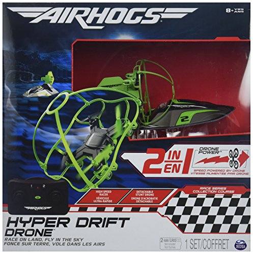 Air Hogs 2-in-1 Hyper Drift Drone for High Speed Racing and Flying - Green - Air Hogs Toy