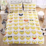 Lightinthebox3D Prints Beautiful Poly/Cotton 3-Piece Creative Funny Emoji Bedding Sets 1x Duvet Cover and 2X Pillow Covers (Twin)
