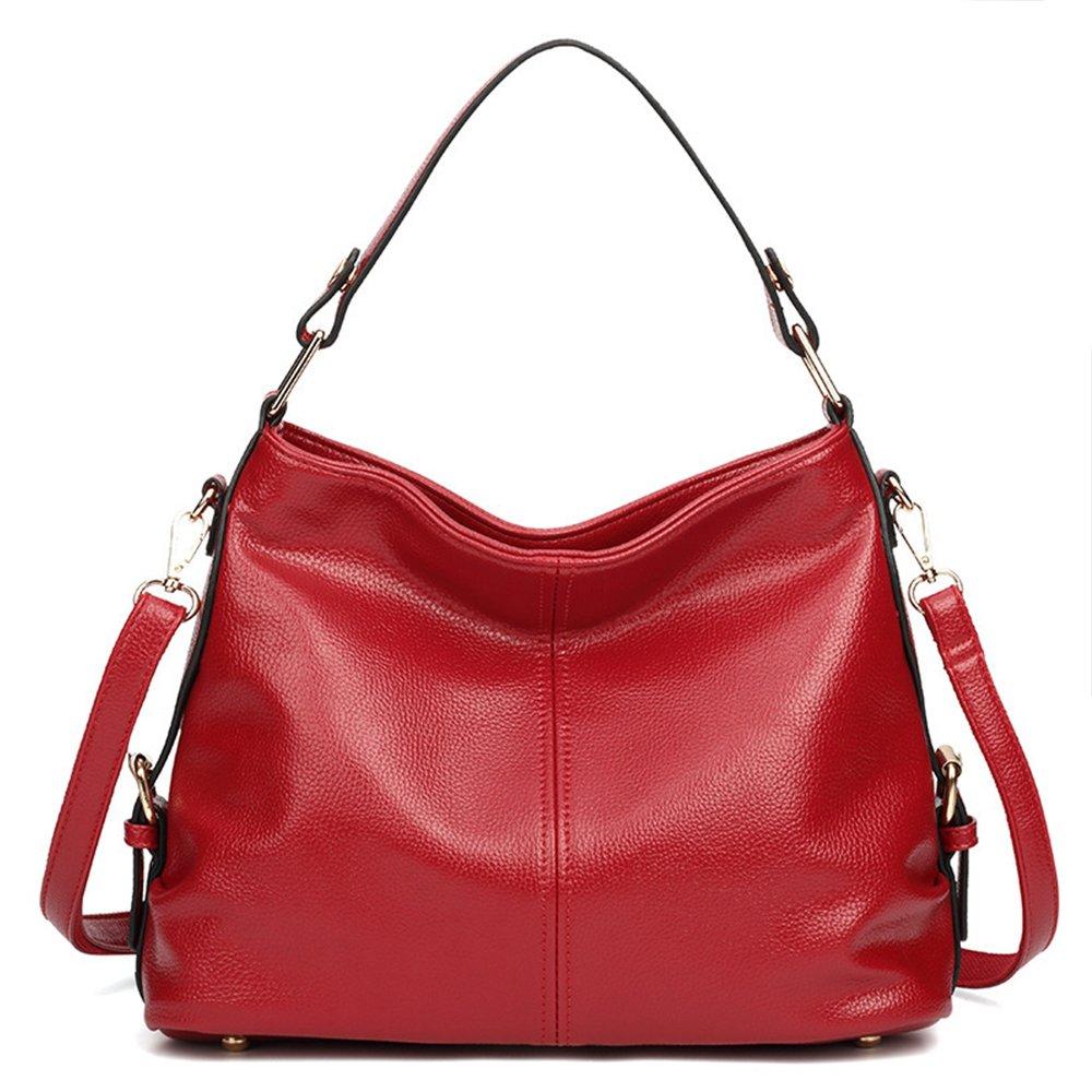 Women's Leather Handbag Top Handle Purse for Ladies Crossbody Hobo Bag Shoulder Tote (Red)