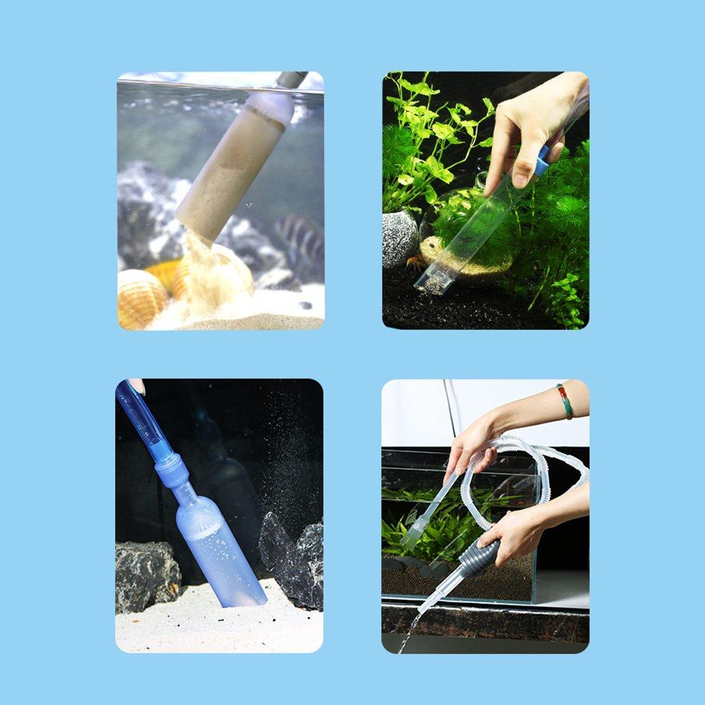 Bomba Acuario Kit de Bomba de Limpieza de Acuario para Pecera Controlador de Flujo de Agua Ajustable Sifon Acuario para Cambio de Agua y Limpieza de Grava ...