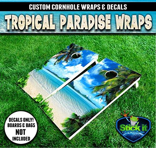 Corn Hole Tropical Island Paradise Cornhole Wrap set, 2 decals (24