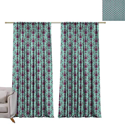 berrly Grommet Window Treatment Set Damask,Flowers and Vase Silhouette with Ornate Swirls on Pastel Toned Background, Purple Pale Green W72 x L108 Curtains ()