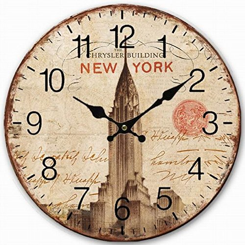 Telisha Wooden Wall Clock USA New York Chrysler Building Shabby Clock Retro Vintage Large Clock Home Decorative Country Non -Ticking Silent Quiet 14 Inch Gift