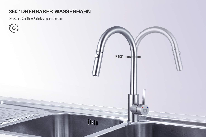 16° Ausziehbar Drehbar Küche Spültischarmaturen Mischbatterie