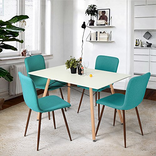 FurnitureR Dining Table Modern Retro Design Square Dining Table Chair Desk with Beech Wooden Legs -