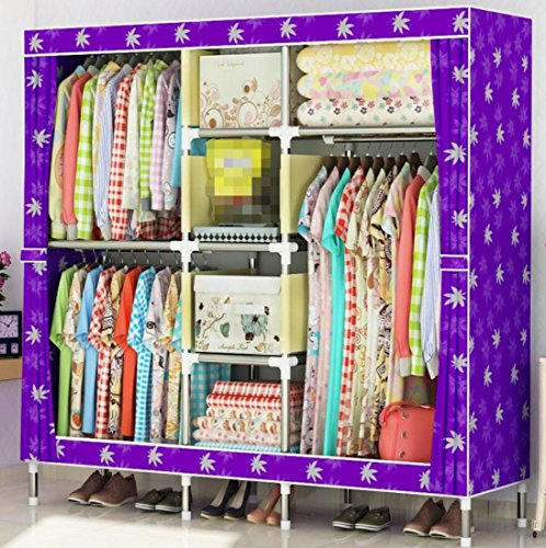 GL&G Wardrobe Steel Pipe Closet Oxford cloth Free Standing Storage Organizer – Home finishing decoration Portable, Detachable, and Lightweight Clothing Closet ,D,65''67'' by GAOLIGUO