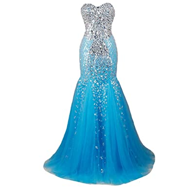 Kivary Mermaid Long Crystals Beaded Tulle Corset Formal Prom Dresses Evening Gowns Blue US 2