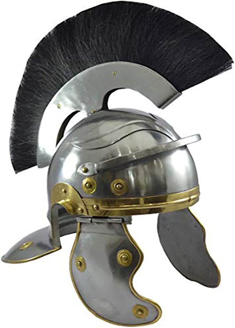 AnNafi Roman Centurion Helmet Armor w/ Black Plume | Medieval Metal Replica Helm | Soldier Costume Gladiator