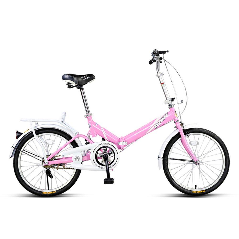 学生折りたたみ自転車, 折りたたみ自転車 軽量 ポータブル 男女 ミニ 大人 折りたたみ自転車 B07D33SYND 20inch|ピンク ピンク 20inch