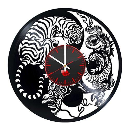 Japan Asia Tiger Dragon Handmade Vinyl Record Wall Clock Vintage Unique Art Design Decor Gift idea