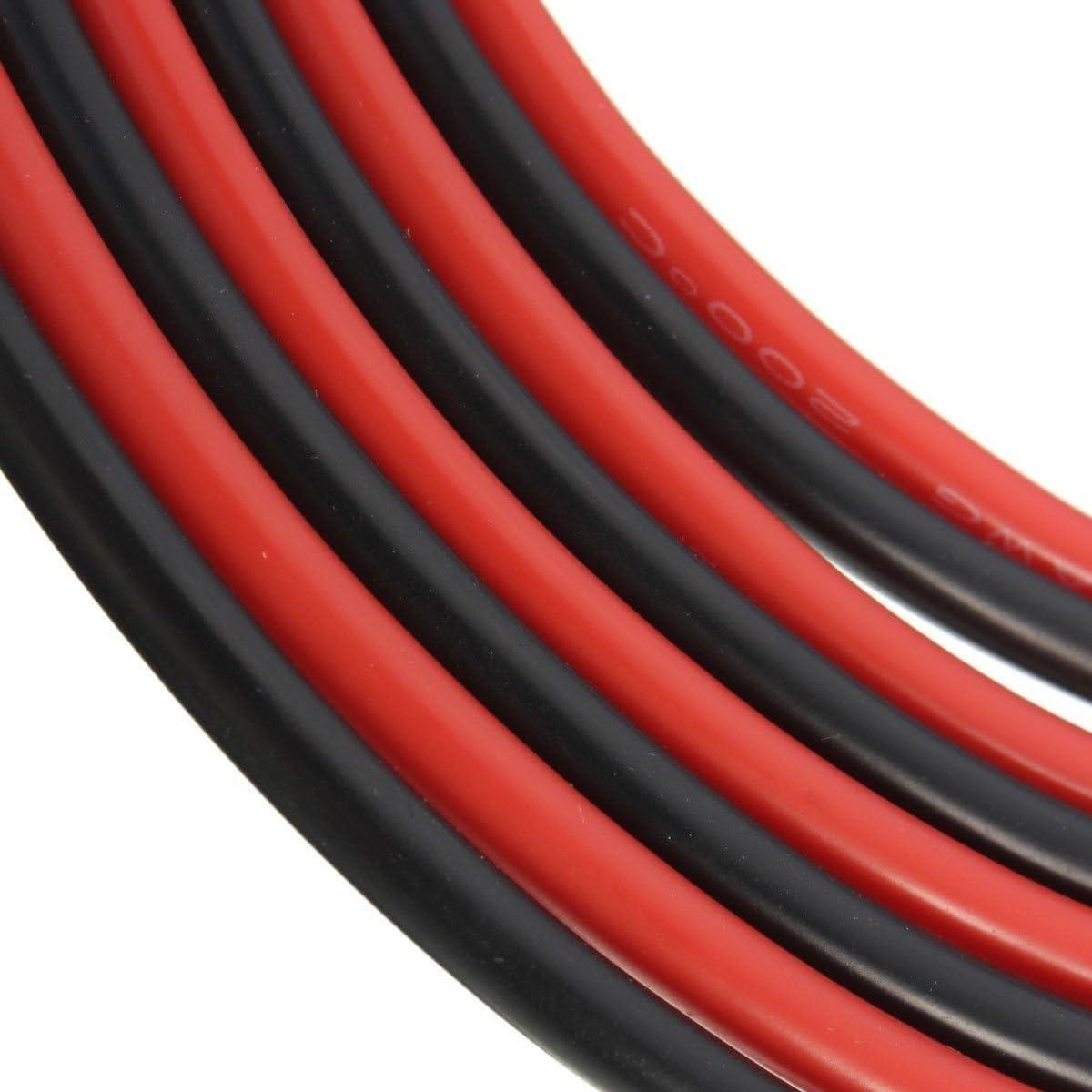 2 x 1,5 m Fils de c/âblage multibrins en silicone noir et rouge 14 AWG avec 400 brins de cuivre