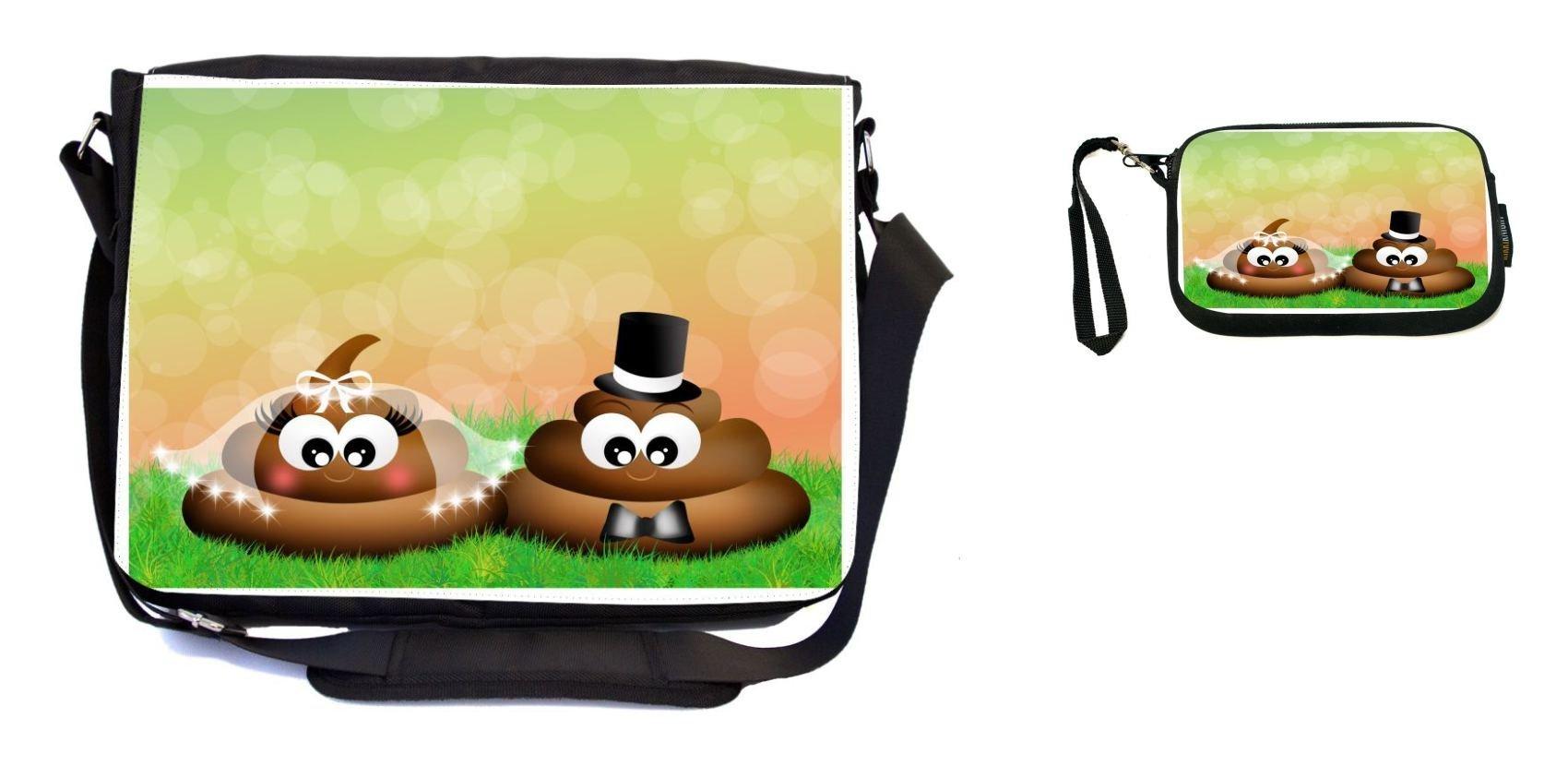 Rikki Knight Stinky Poop in Love Wedding Illustration Design Messenger Bag - School Bag - Laptop Bag - with Padded Insert - Includes UKBK Premium Coin Purse