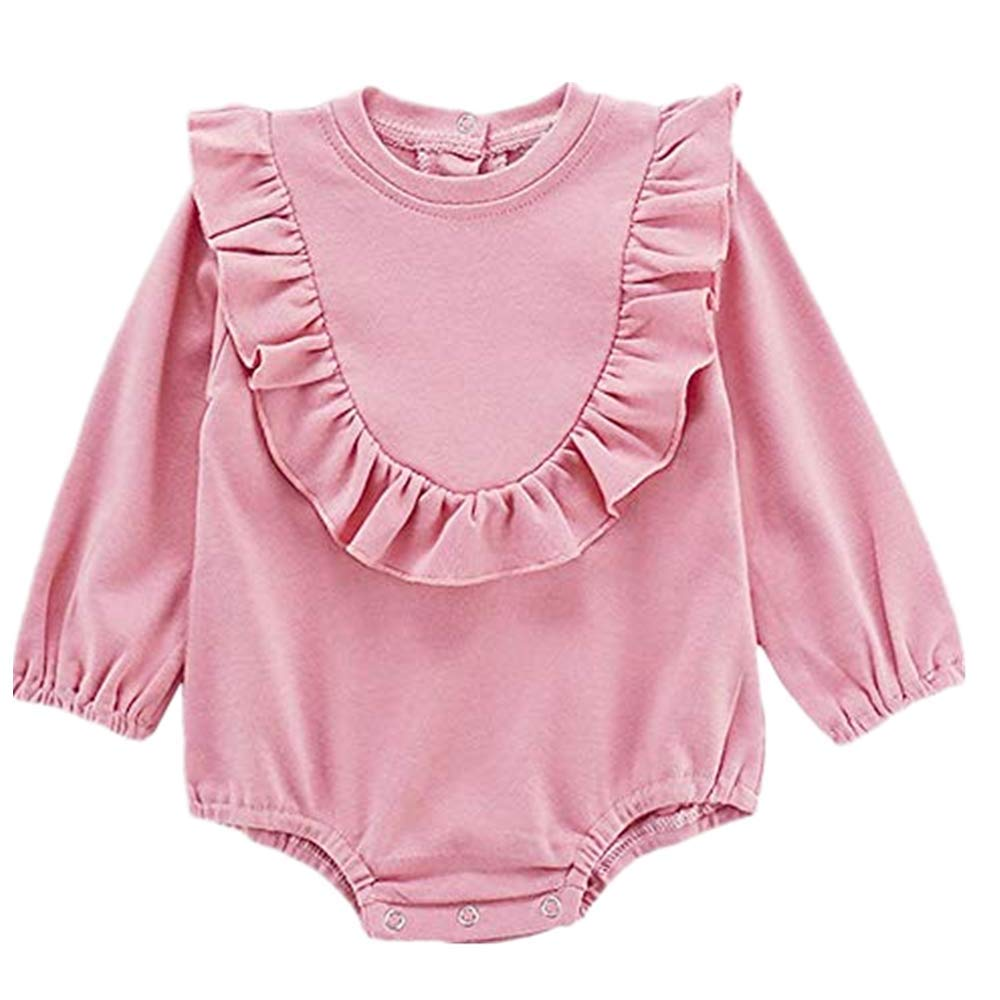 NUWFOR Newborn Toddler Baby Kid Girl Long Sleeve Solid Bodysuit Outfits Romper Clothes(Pink,6-9 Months)