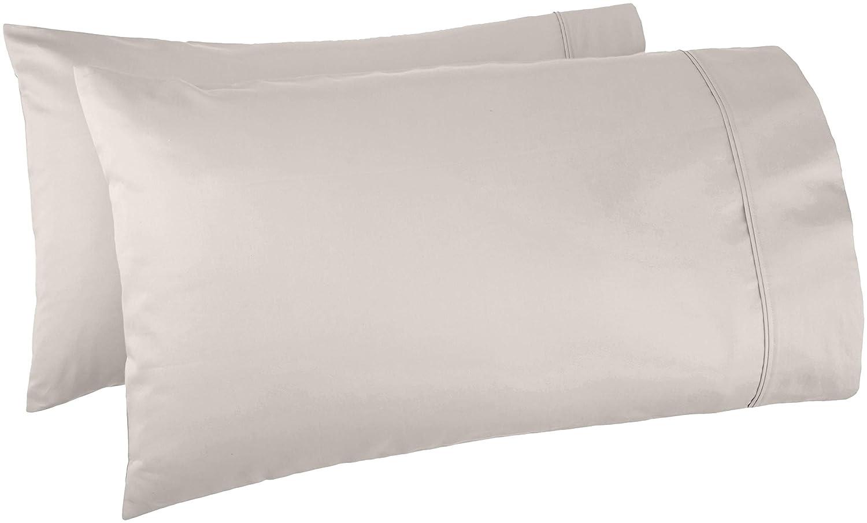 AmazonBasics 400 Thread Count Cotton Pillow Cases, Standard, Set of 2, Stone Grey