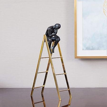 LUGEUK Pensador en la Escalera Resina Decoración de Metal Escultura Decoración Estatua Figura Regalo Adorno Recuerdo: Amazon.es: Hogar