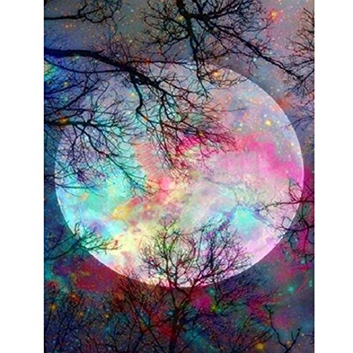 Kimanli Moon 5D Diamond Painting Clearance 5D Diamond Painting Cross Stitch Kit Home Decor Crystal Embroidery Pictures DIY Diamond Painting Kits for Adults