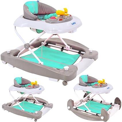 Andador gehfrei de 2 in1 bebés y niños unidad carro con balancín Función y juguetes grau
