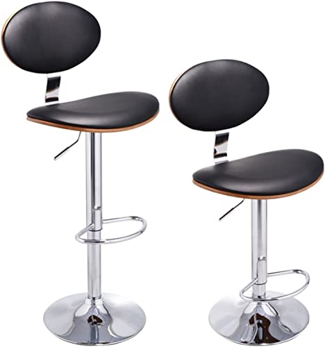 COSTWAY Set of 2 Bentwood Swivel Bar Stools PU Leather Modern Counter Barstools Adjustable