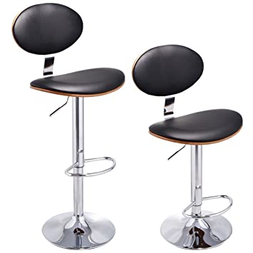 Amazon.com: New 2PC Bentwood Swivel Bar Stools PU Leather Modern Barstools Adjustable: Kitchen & Dining