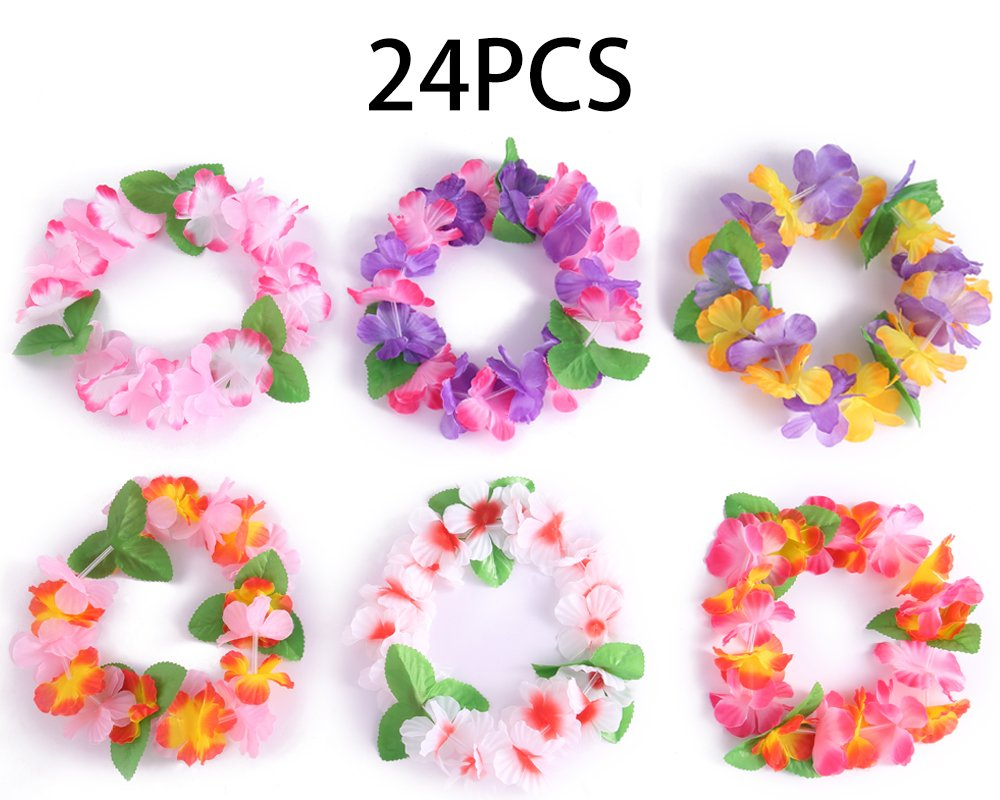 24PCS Luau Tropical Hawaiian Headband Headpiece Leis- Summer/Tiki/Pool Mahalo Flower Party Decorations Favors Supplies by jollylife