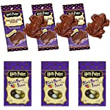 Harry Potter Candy Bundle - 3 packs of Every Flavor Beans (35g per box) and 3 Official Harry Potter Chocolate Frogs (15g per frog) with Collectible Wizard Cards (1 card per Frog)