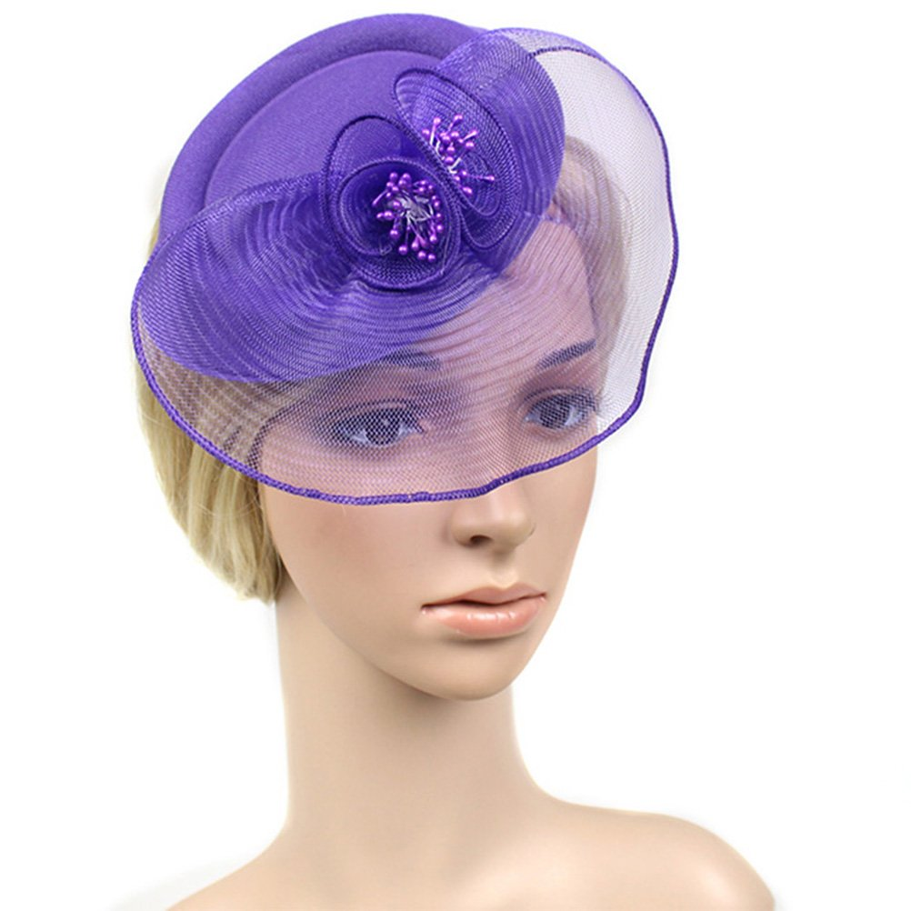 Chiyou Fascinators Womens Pillbox Flower Derby Hat for Cocktail Ball Wedding Church Tea Party