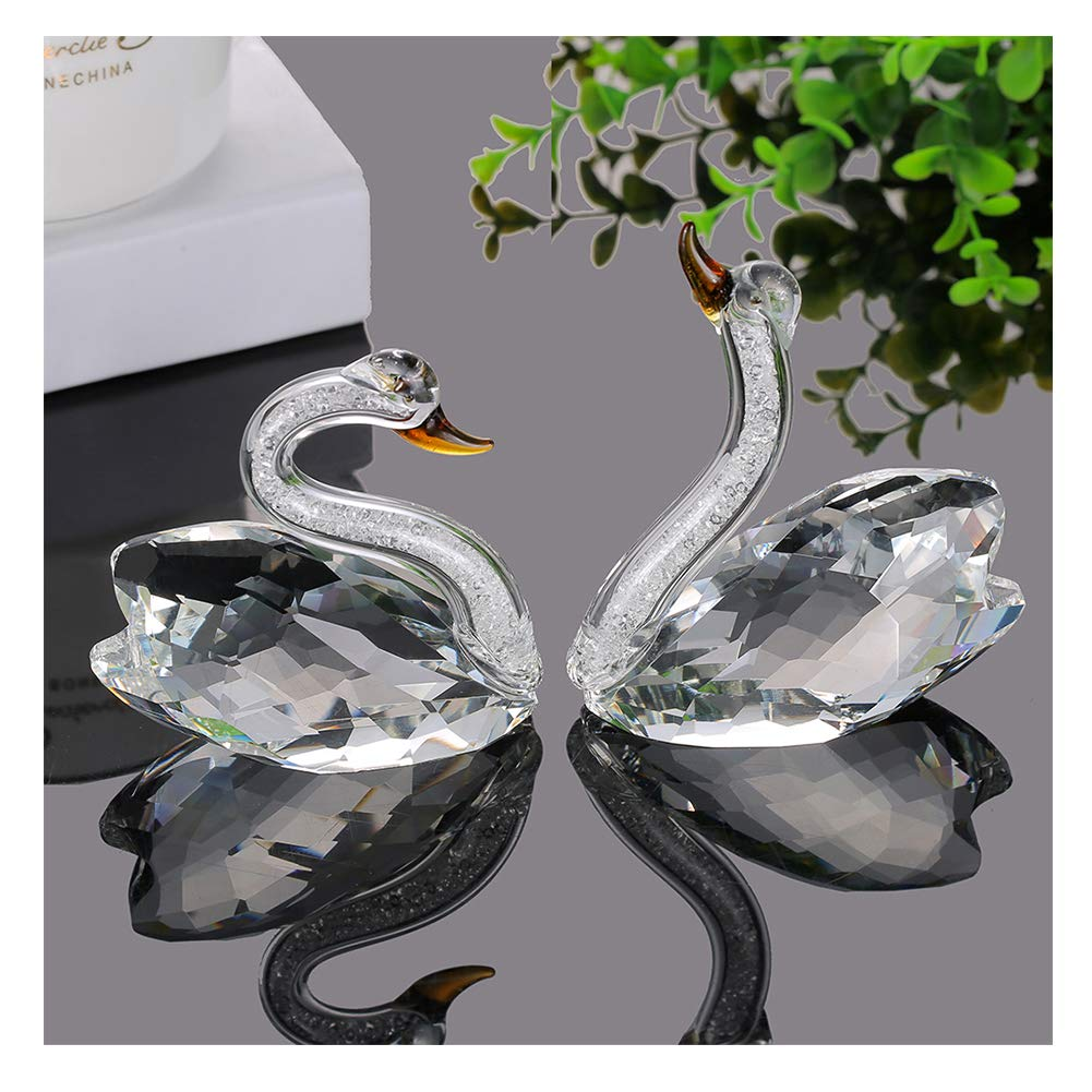 XIANGBAN Crystal Swan Figurine Collection Valentine's Day Decorative Statue (Clear)