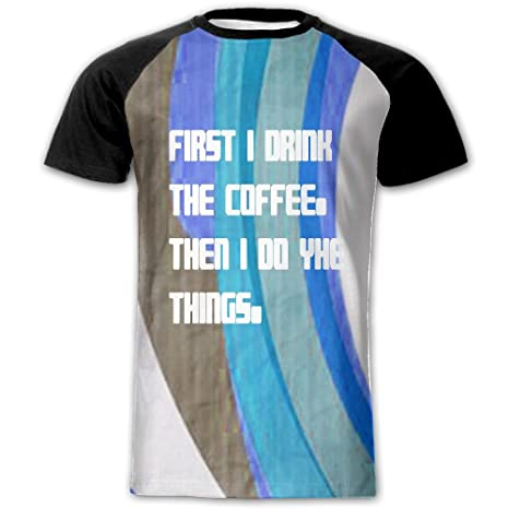 43c0e4bf5 Amazon.com : First-Drink-Coffee-Do-Things Printed Short Sleeve T-Shirt For  Men Casual Graphic Tees : Sports & Outdoors