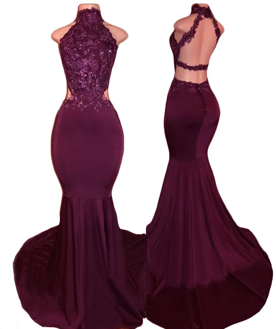 2018 Women's Sexy High Neck Backless Prom Dresses Long Mermaid Evening Party Gowns