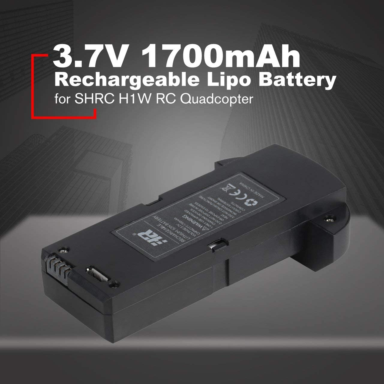 Black Jasnyfall 3.7V 1700mAh Rechargeable Lipo Battery for SHRC H1W RC Quadcopter Spare Parts RC Drone Lithium-ion Battery Black