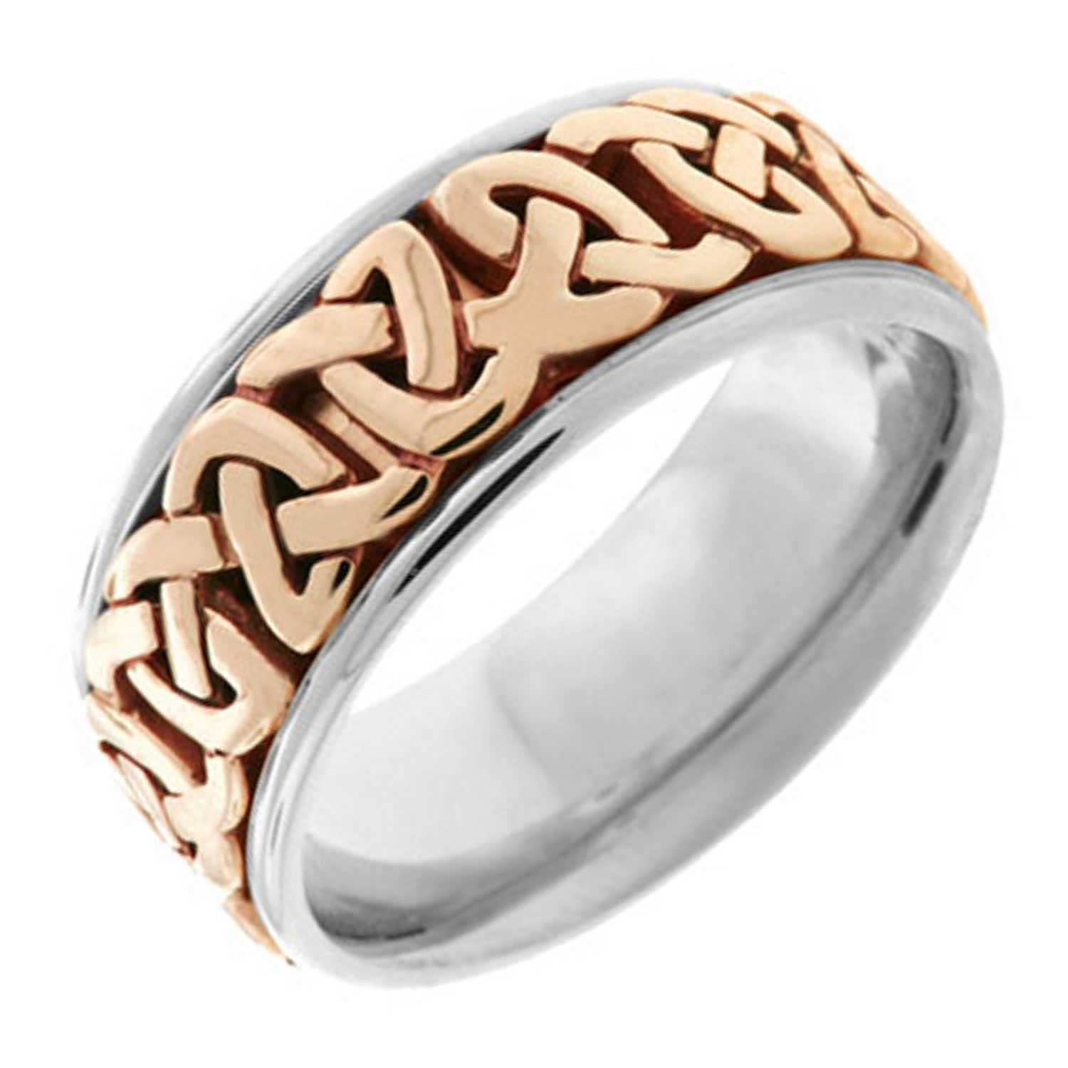 14K Two Tone Gold Celtic Love Knot Men's Comfort Fit Wedding Band (8.5mm) Size-13.5c1
