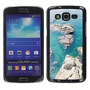 For Samsung Galaxy Grand 2 II / SM-G7102 / SM-G7105 Case , Rocks Canoe Blue Sea Ocean - Diseño Patrón Teléfono Caso Cubierta Case Bumper Duro Protección Case Cover Funda