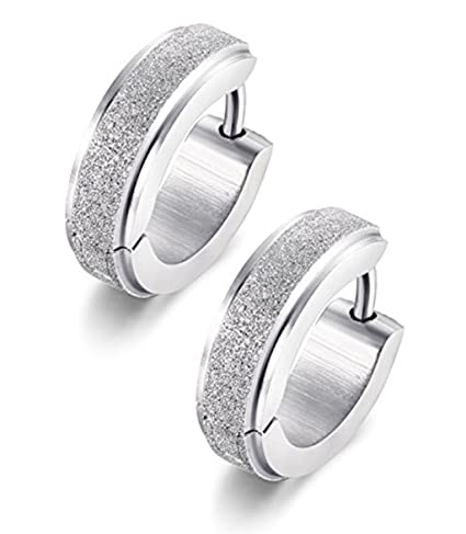 a8f7b3b63 Image Unavailable. Image not available for. Color: Stainless Steel Womens  Hoop Earrings for Men Huggie Ear Piercings Hypoallergenic 20G ...