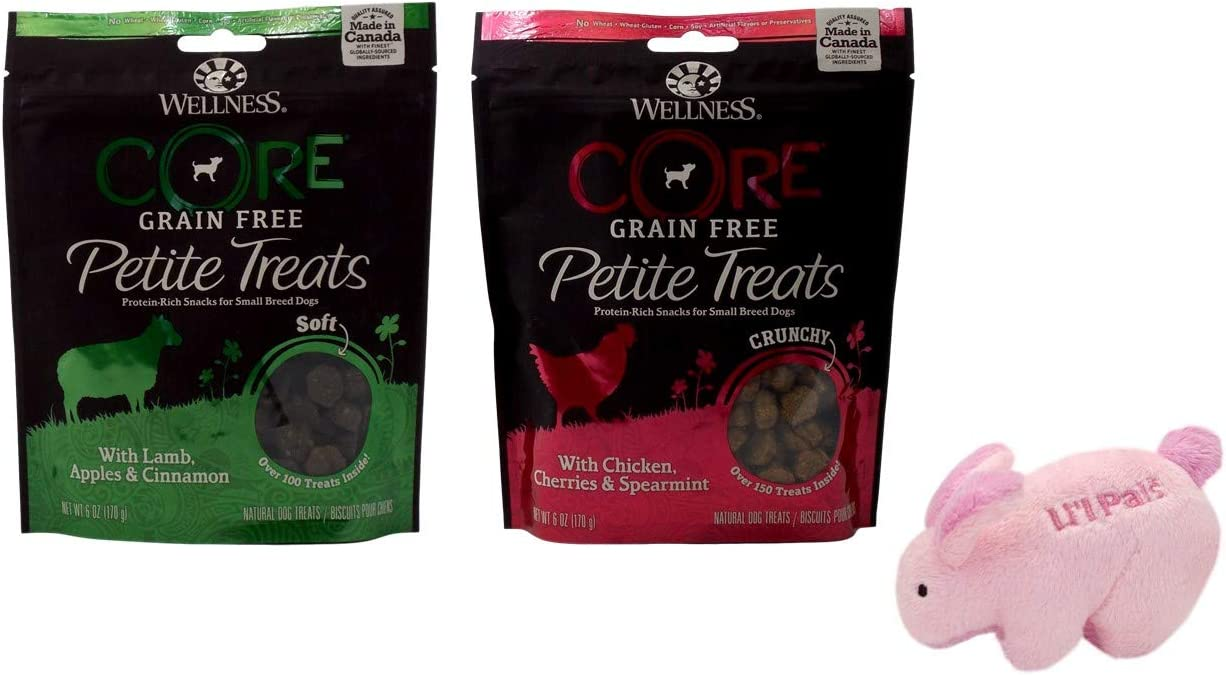 Wellness CORE Petite Treats Grain Free Small Breed Dog Snacks 2 Flavor Variety Plus Toy Bundle, (1) Each: Soft Lamb Apples Cinnamon, and Crunchy Chicken Cherries Speamint (6 Ounces)